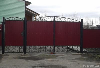 Дачные ворота из профнастила в омске металлические заборы в омске